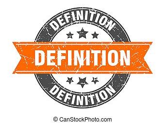 tłoczyć, znak, okrągły, etykieta, definicja, ribbon.