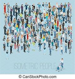 tłum., isometric, ludzie