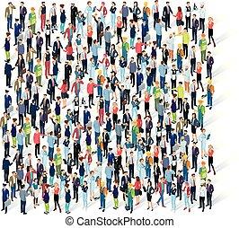 tłum., ludzie, isometric