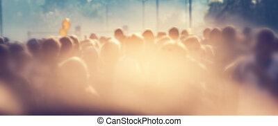 tłum, ludzie, słońce, flare., rano, tło, plama, chorągiew