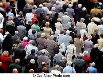 tłum, od, ludzie