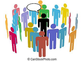 tłum, od, towarzyski, media, drużyna, ludzie, mówiący