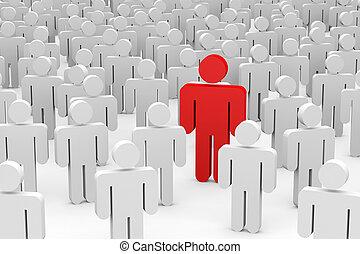 tłum., pojęcie, individuality., mężczyźni, 3d