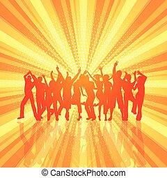 tłum, starburst, 0606, retro, tło, partia