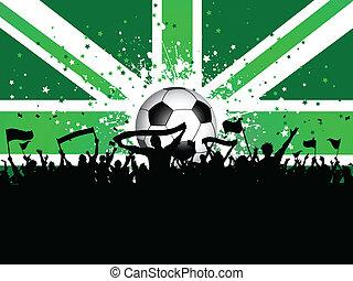 tłum, zjednoczenie, piłka nożna, bandery, lewarek, chorągwie