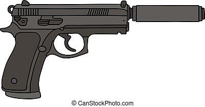 tłumik, pistolet ręczny