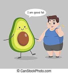 tłuszcz, strata, awokado, człowiek, dobry, ciężar, dieta, ketogenic, miłość