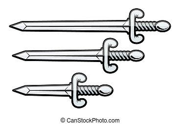 tőr, vektor, -, kard