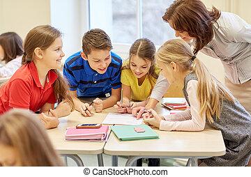 třída, škola vyhýbající se práci, skupina, dílo, test