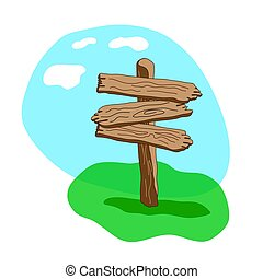 tři, šipka, tvořit, karikatura, dřevěný, ukazovat