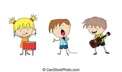 tři, děti, rozeznat hudba