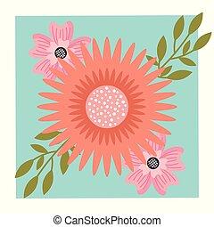 tři, květiny, uspořádání, blbeček, okrasa, květinový