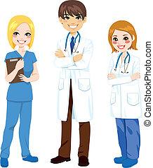 tři, nemocnice, dělníci