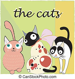 tři, neobvyklý, devítiocasá kočka