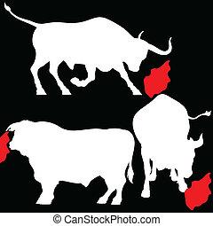 tři, neposkvrněný, býk, ilustrace