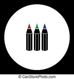 tři, pastel, rozmanitý, barva, jednoduchý, čerň, ikona, eps10