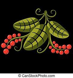 tři, pramen, nebo, léto, list, jednoduchý, vektor, ikona, druh, a, zahradničení, námět, illustration., stylizovaný, strom, mladický list, s, úponka, a, červeň, semena, botanika, a, vegetarián, design, element.