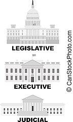 tři, větvit, o, us státní ústava, ilustrace