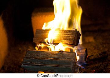 tűzifa, kandalló, sóvárog, égető