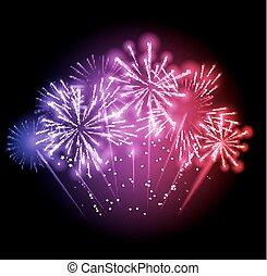 tűzijáték, ábra, sötét, vektor, háttér, üdvözöl