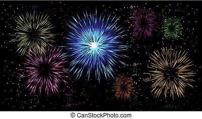 tűzijáték, ünnep, éjszaka