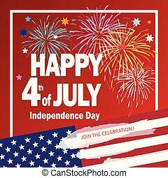 tűzijáték, 4 july, nap, szabadság, boldog