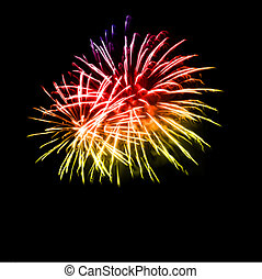 tűzijáték, alatt, a, éjszaka, sky., vektor