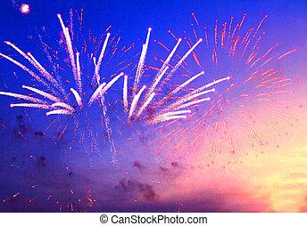 tűzijáték, alatt, este, ég