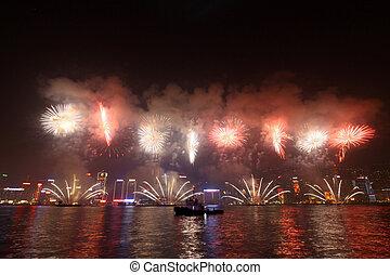 tűzijáték, alatt, hong kong, mentén, kínai új év, 2011