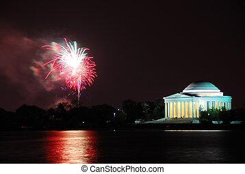 tűzijáték, emlékmű, jefferson, washington dc dc