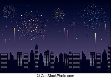 tűzijáték, háttér, éjszaka, robbanások, kitörés, citycape, ég