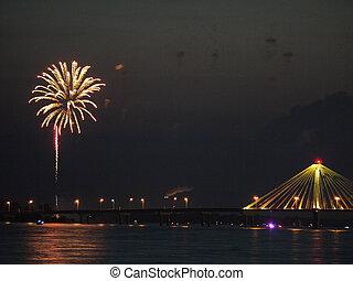 tűzijáték, képben látható, a, folyó