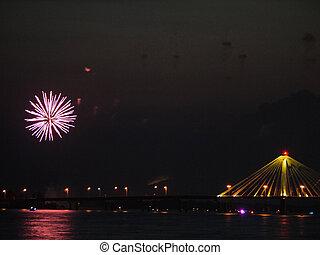 tűzijáték, képben látható, a, river-2