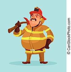 tűzoltó, alatt, egyenruha