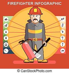 tűzoltó, alatt, hevül öltöny, ember