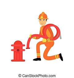 tűzoltó, betű, alatt, egyenruha, és, oltalmazó, sisak,...