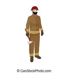 tűzoltó, fogadalmak, befog, munkás, elszigetelt, ábra, vektor, őt emberek, man.