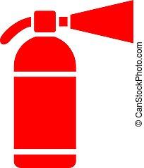 tűzoltó készülék, vektor, ikon