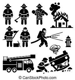 tűzoltó, kiszabadítás, tűzoltó