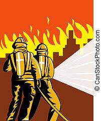 tűzoltó, verekszik hevül