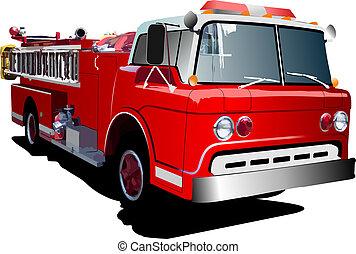 tűzoltóautó, létra, elszigetelt, képben látható, háttér.,...