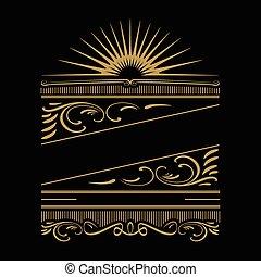 tシャツ, ∥あるいは∥, ポスター, 夏, designs., フレーム, 活版印刷, calligraphic, ornaments., バックグラウンド。, ベクトル, デザイン, レトロ, 型, 服装, ホリデー, 他, カード, 挨拶