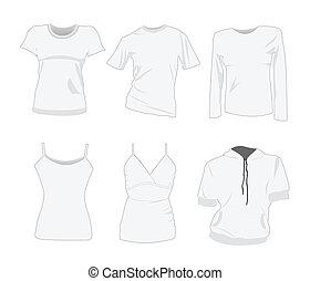 tシャツ, テンプレート, 女, デザイン