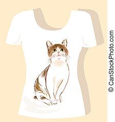 tシャツ, トラネコ, デザイン, ねこ
