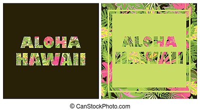 tシャツ, プリント, hawaii., aloha, 熱帯の花