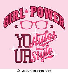 tシャツ, 女の子, デザイン, 力