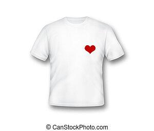 tシャツ, 心, 白, 形