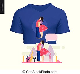 tシャツ, 接吻, デザイン, 現場, 構成