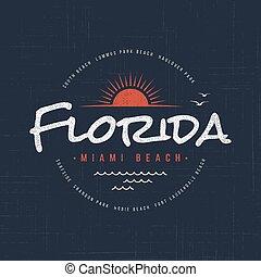 tシャツ, 服装, デザイン, 浜。, マイアミ, フロリダ