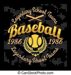 tシャツ, 野球, トーナメント, 紋章, ベクトル